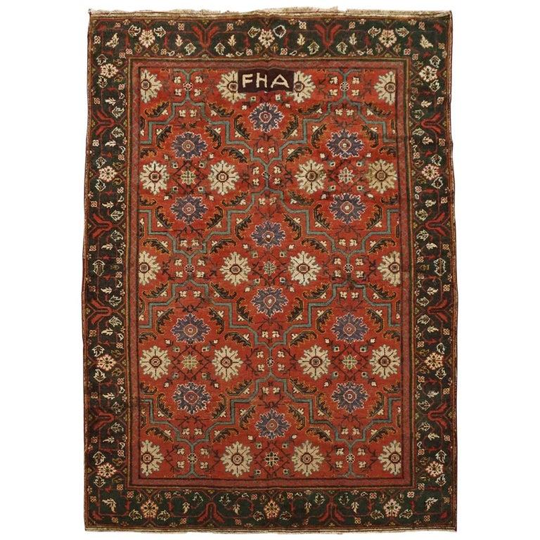 Deep Burgundy Indian Agra Rug For Sale At 1stdibs: Antique Signed Indian Agra Rug, Circa 1880 For Sale At 1stdibs