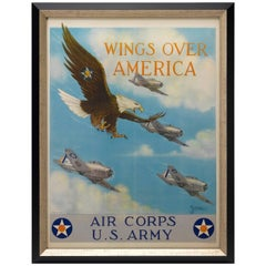 Wings Over America WW II Era U.S. Army Air Corp Recruitment Poster, circa 1941