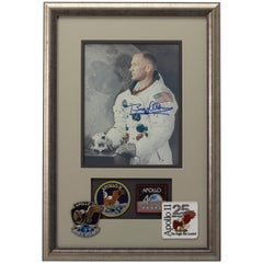 Buzz Aldrin Signed Photograph Framed with Four Unique Apollo 11 Patches