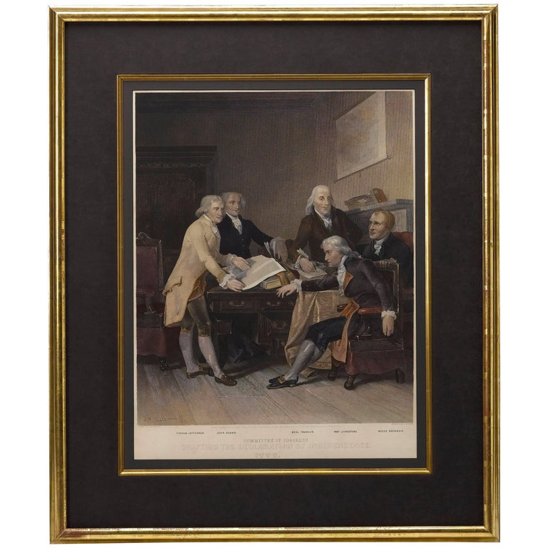 Congress Drafting of the Declaration of Independence, 1776, Color Engraving 1865