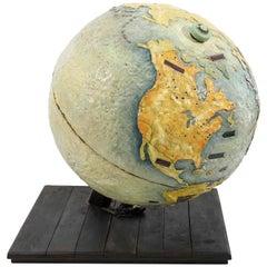 Large Artist-Made Light Up Globe Sculpture