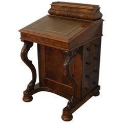 English Victorian Burr Walnut Davenport Writing Desk