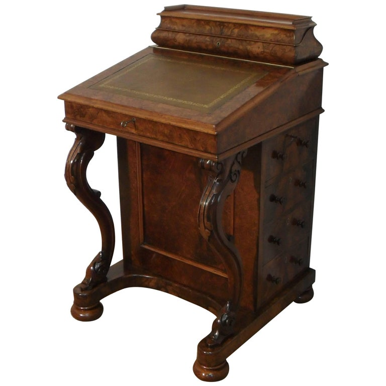 English Victorian Burr Walnut Davenport Writing Desk