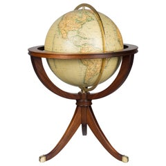 French Terrestrial Globe on Mahogany Stand
