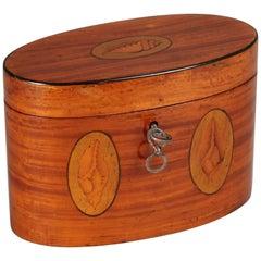 George III Period Satinwood Oval Tea-Caddy