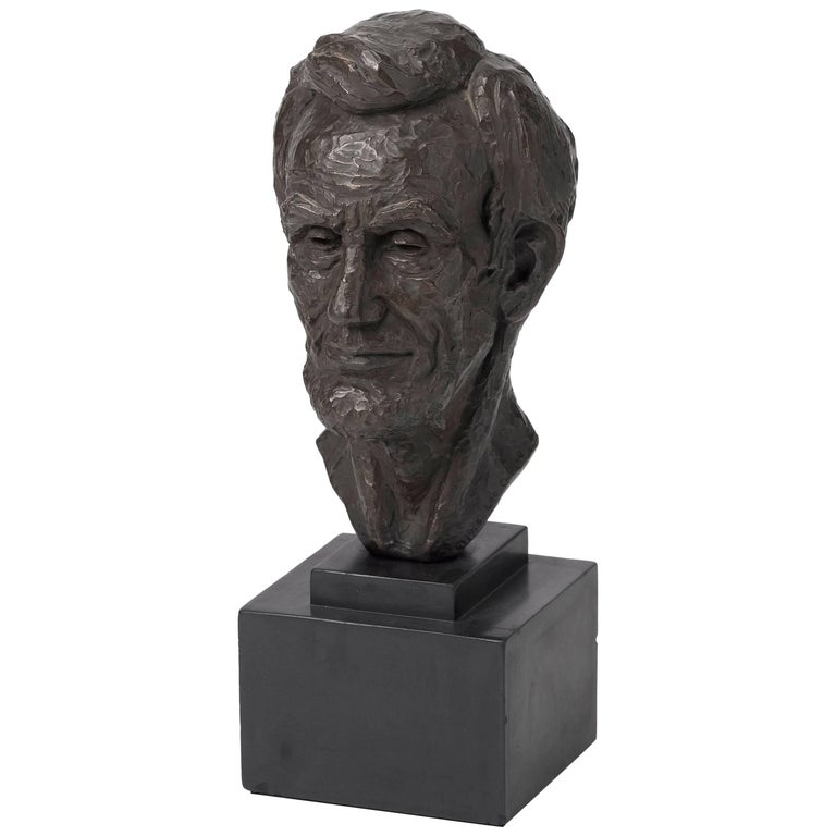 Abraham Lincoln Bust by Leo Cherne, Signed and Dated 1955 For Sale