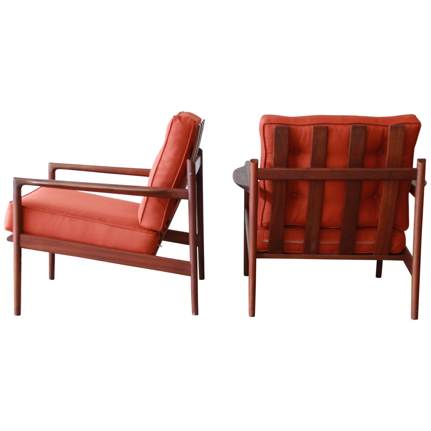 This sculptural pair of lounge chairs by ib kofod larsen is no longer - Ib Kofod Larsen For Selig Picket Back Lounge Chairs 1960s For Sale At 1stdibs