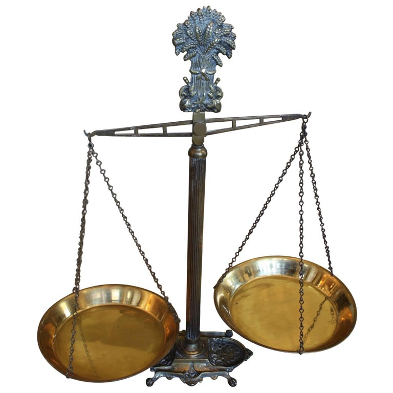 19th Century Cast Iron Scales with Brass Pans, Bakery Scales