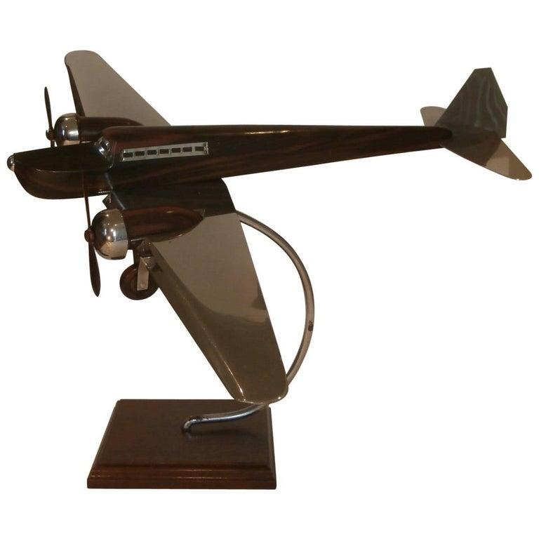 Art Deco Large Desk Model Airplane Chrome and Zebra Wood, France, 1930