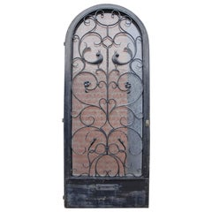 Vintage Arts and Crafts Style Entry Door w. Wrought Iron Dragon and Bird Design