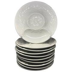 Set of Ten French White Plates