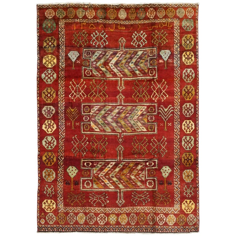 Antique Cotton Agra Rug With Abrash Circa 1900 For Sale: Antique Kurdish Tribal Rug With Abrash, Signed And Dated