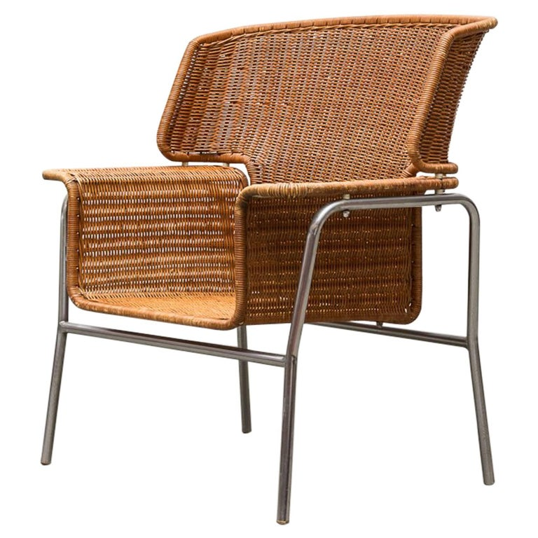 Rare Dirk Van Sliedregt Rattan Throne Lounge Chair 1