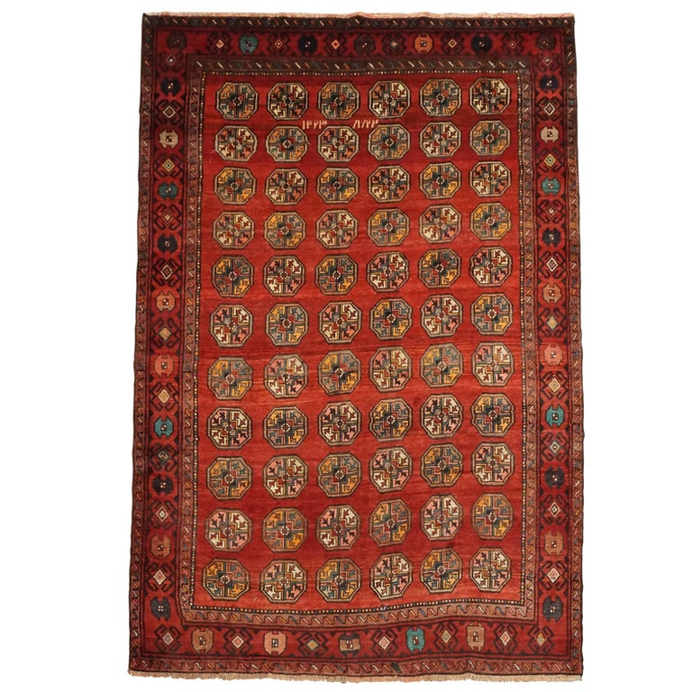 Persian Tribal Rugs: Antique Persian Tribal Bukhara Rug, Dated 1909 For Sale At