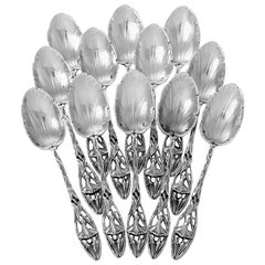 Canaux Masterpiece French Sterling Silver Tea Coffee Spoons Set 12 Pieces