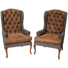 Pair of Vintage American Hardwood Wingback Chairs with Napa Leather Upholstery