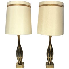 Pair of Tony Paul for Westwood Brass Table Lamps with Original Shades