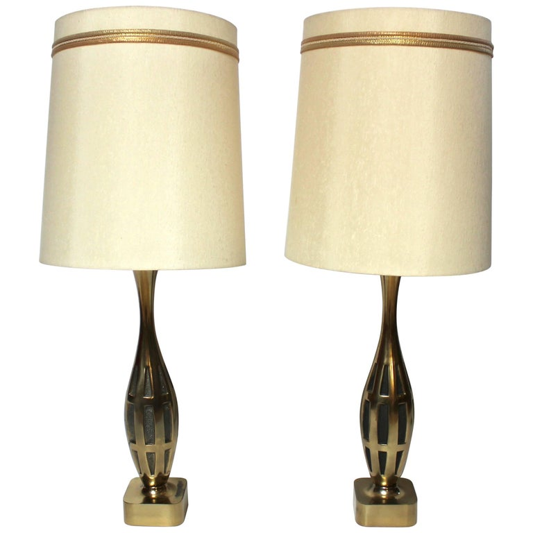 Westwood Lighting: Pair Of Tony Paul For Westwood Brass Table Lamps With