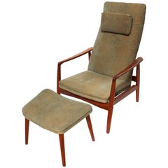 Søren Ladefoged Danish Modern Reclining Lounge Chair with Ottoman, circa 1960