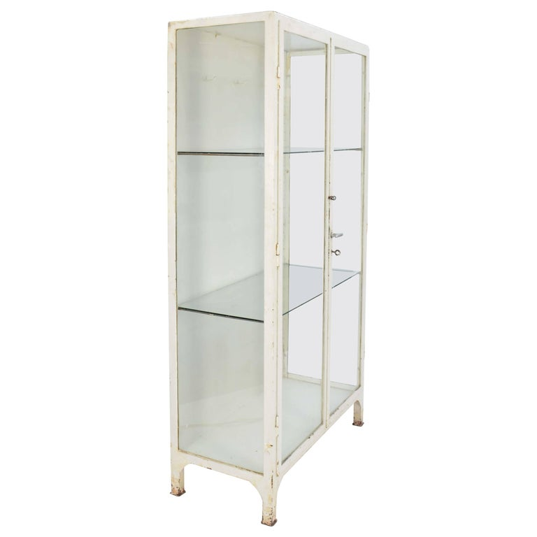 Up to Three 1940s Double Bank Steel Medical Cabinet For Sale