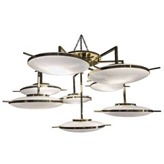"""Italian Murano Glass and Brass """"Flying Saucers"""" Chandelier"""