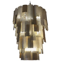 Oversized Multi-Layered Murano Scavo Glass Chandelier