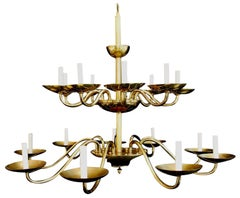 Sexy Set of Nine Brass Chandelier by Chapman 'Price Is for One'