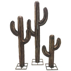 Vintage Metal Cactus Sculptures