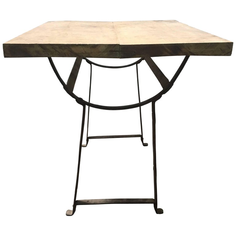 19th Century Wood and Metal Trestle Table For Sale