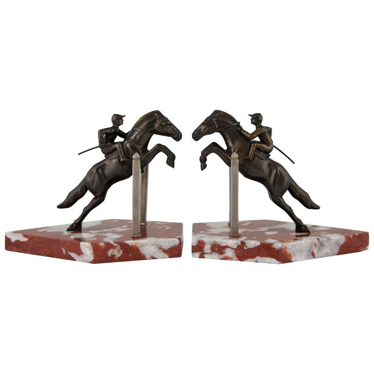 Art Deco Jockey Bookends on Jumping Horse, 1930 France