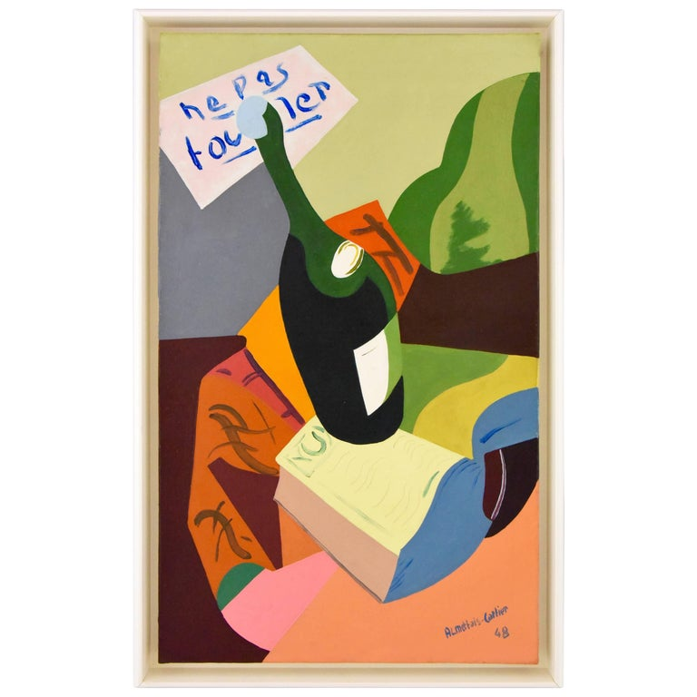 Painting Still Life with Bottle Ne Pas Toucher Alain Mettais Cartier 1948 France For Sale