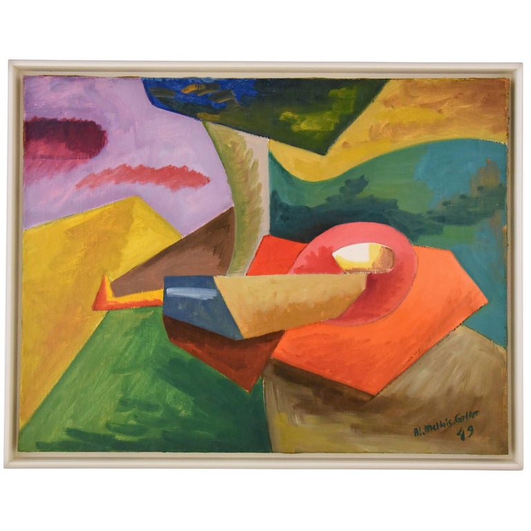 Painting Colorful Landscape Reclining Woman by Alain Mettais Cartier 1949 France For Sale