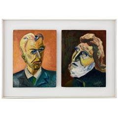 French Painting Two Male Portraits in One Frame by Alain Mettais Cartier, 1950