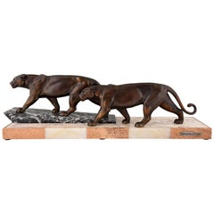 Art Deco Sculpture of Two Walking Panthers by Alexandre Ouline, 1930 France
