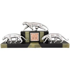 French Art Deco Clock with Three Bronze Panthers Onyx and Marble, Michel Decoux