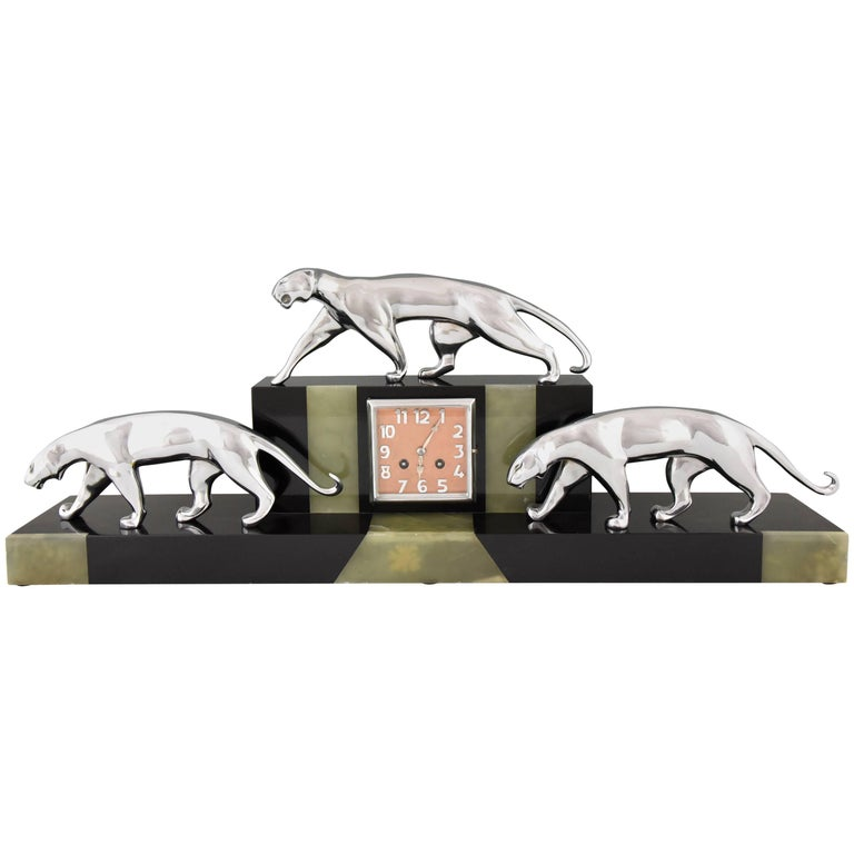 Art Deco Clock with Three Bronze Panthers Onyx and Marble, Michel Decoux France