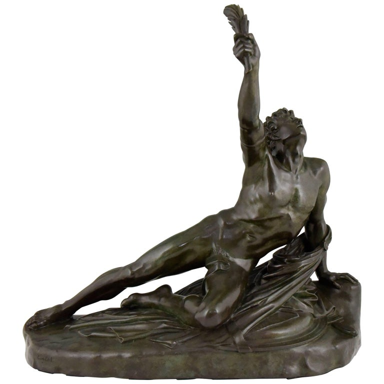 Marathon Man with Laurel Antique French Bronze Sculpture by Jean Pierre Cortot