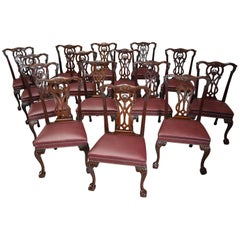 Superb Set of 15 19th Century Chippendale Style Mahogany Dining Chairs