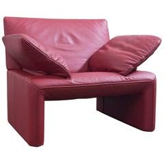 Jori Designer Sessel Rot Leder Einsitzer Couch Funktion Modern Echtleder #3097