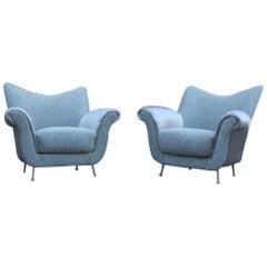 Pair of Armchairs  Mid-Century Italian Design Grey   Very Elegant