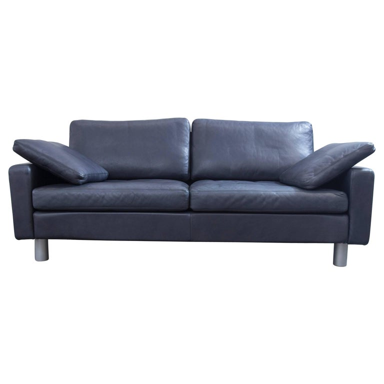 cor conseta designer sofa blue leather two seat couch modern for sale at 1stdibs. Black Bedroom Furniture Sets. Home Design Ideas