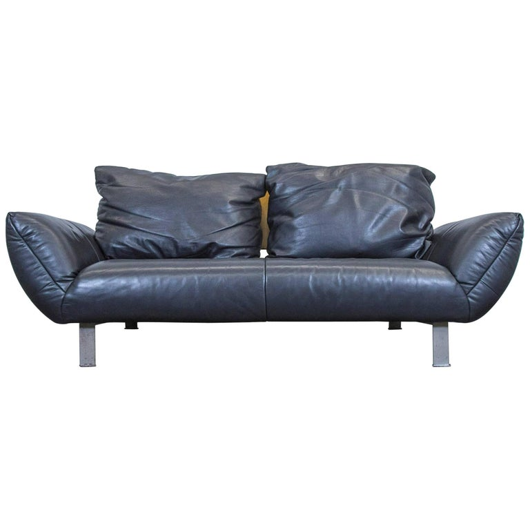 rolf benz designer leather sofa black two seat couch wood modern at 1stdibs. Black Bedroom Furniture Sets. Home Design Ideas