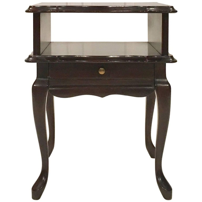 French antique wooden side table with small drawer for