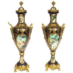 Pair of Huge Gilded French Sevres Style Blue Porcelain Vases