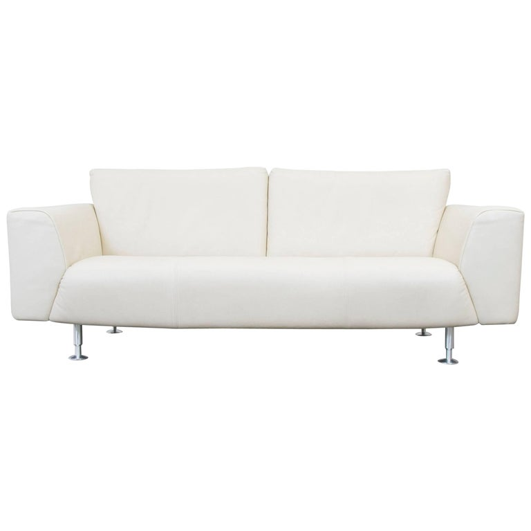rolf benz designer leather sofa cr me white three seat. Black Bedroom Furniture Sets. Home Design Ideas