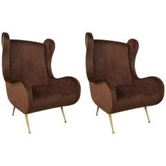 Pair of Italian Armchairs in Velvet Brass Legs