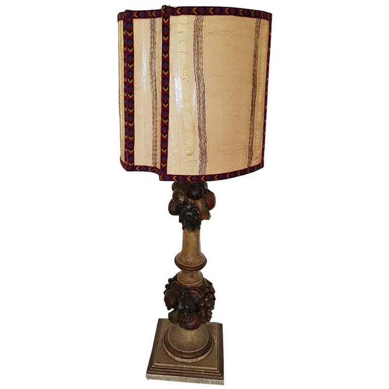 vintage mid 20th century italian hand carved wooden lamp for sale at 1stdibs. Black Bedroom Furniture Sets. Home Design Ideas