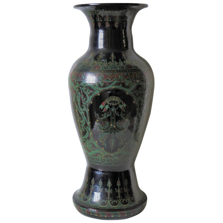 19th Century Large Papier Mache Laquered Vase Finely Painted, Possibly Islamic