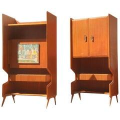 Pair of Cabinet Bar Italian Mid-Century Modern Mahogany 1950