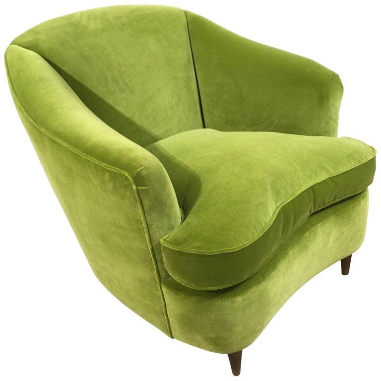 Italian Art Deco Reupholstered Armchair, circa 1930